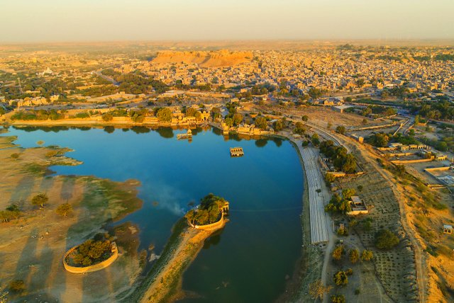 Aerial view of Jaisalmer Gadsisar lake, the golden city fort of Rajasthan, India