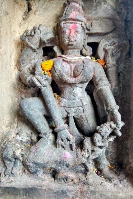 Beautiful Mahishasuramardini sculpture in the verandah of Akkalkot math