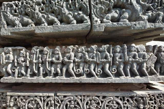 Sculpted stone panels at Kedareshwar temple, Halebeedu