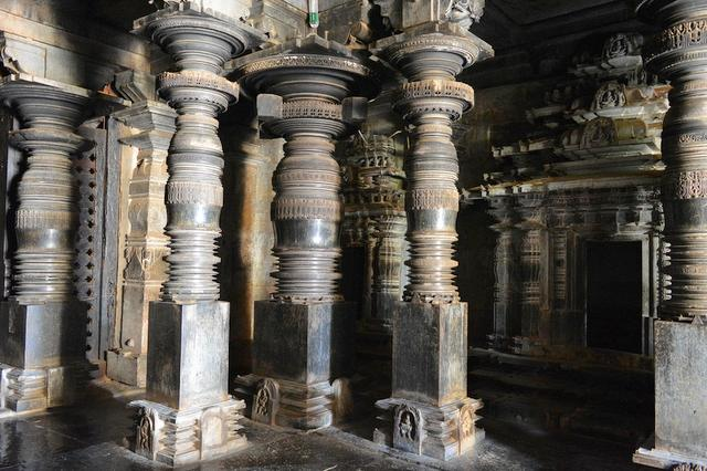 Carved stone pillars of the Adinath Basadi, Halebeedu