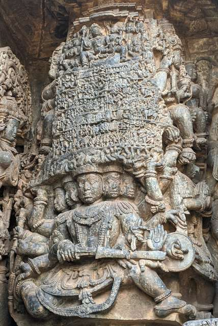 Raavan lifting the Kailasha Parvat stone carved sculpture