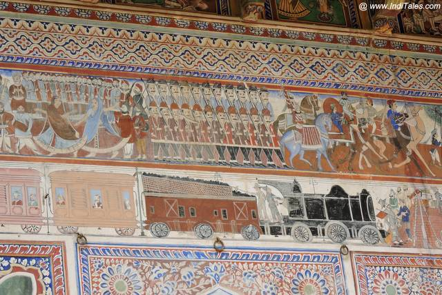 Rail Engine, Festivals and Armies co-existing on walls of Shekhawati Havelis