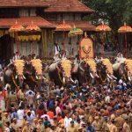 Decorated Elephants parade at Vadakkumnathan Temple Pooram festival