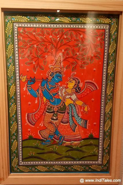 Radha Krishna natural colors miniature painting at Kala Bhoomi