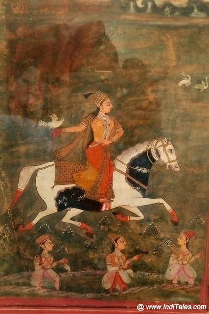 Miniature painting of a Lady riding a horse