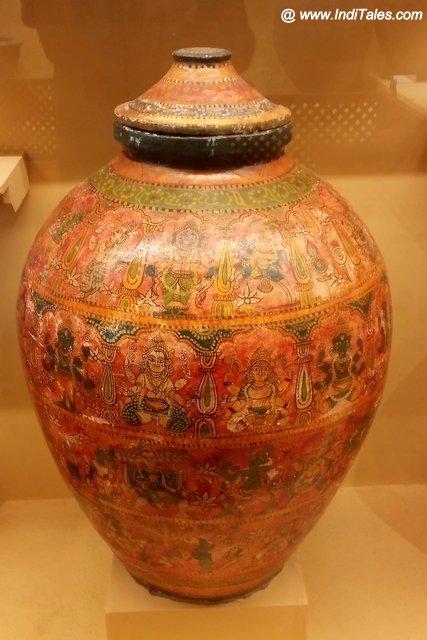 Traditionally painted clay pot at Kala Bhoomi