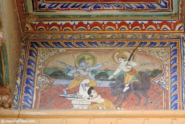 Yamraj painting on the walls of Goenka Haveli
