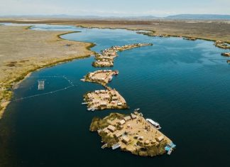 Aerial view of floating islands Uros, Lake Titicaca