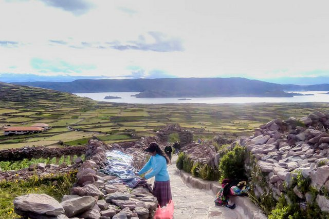 Pachamama landscape view from Amantani island, Lake Titicaca