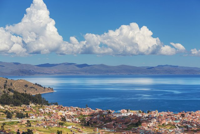 Titicaca lake landscape view from Bolivia