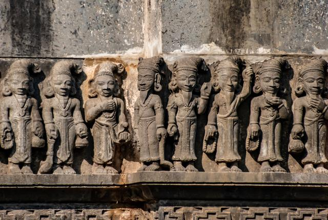 Heritage stone sculptures on the walls of the temple