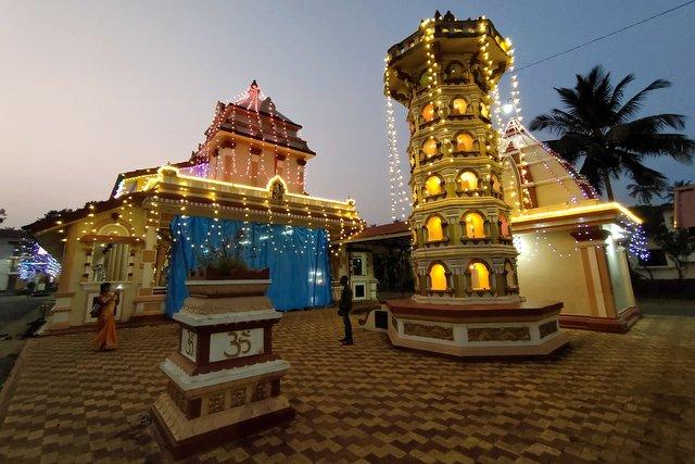Lit up Chamundeshwari Shantadurga Temple