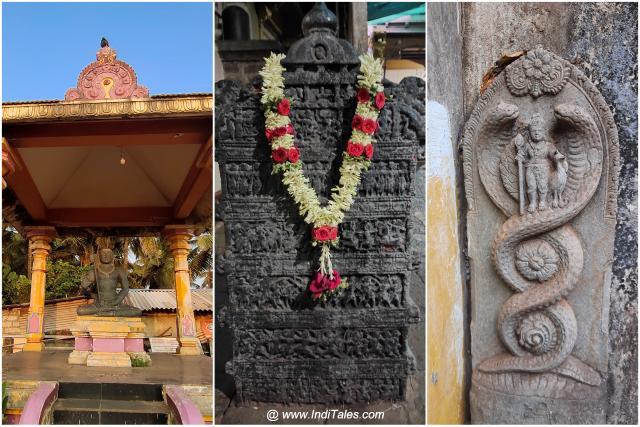 Left to right Adi Shankracharya statue at main beach, Veergal at Mahabaleshwar temple, and One of many Naga sculptures at Naga Tirtha