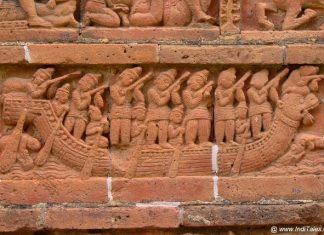 An ancient boat depicted in terracotta at the heritage of Bishnupur, Bengal