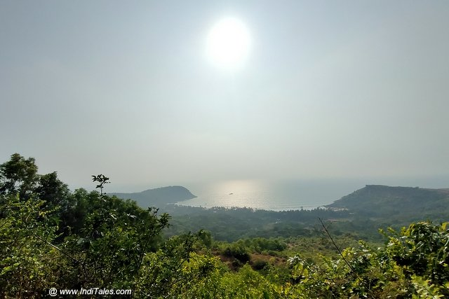 Landscape view of Kudle beach from atop the hills - Places to visit in Gokarna