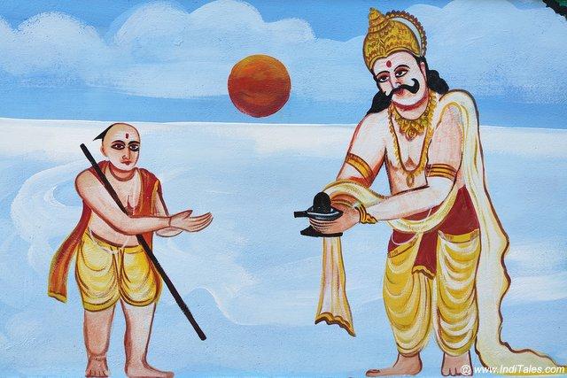 Ravana handing over Atmalinga to Ganesha at this holy place, Gokarna