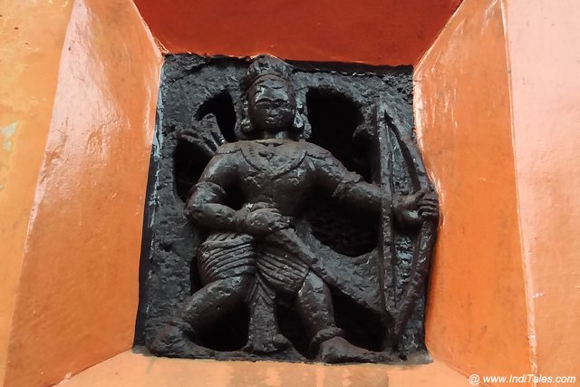 Sculpture of Shree Ram with Dhanush and arrow on the walls of Mahaganapati temple, Gokarna