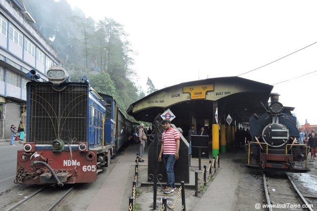 Diesel & Steam locomotives led Indian Railways services at Ghum station