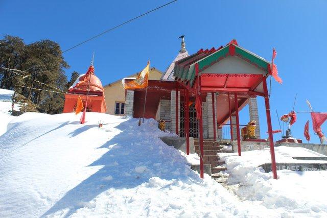 Snowclad Jalori Mata Temple landscape view