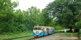 Lush green station along the meter gauge railway line in Malnad, Karnataka