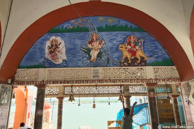 Saraswati, Ganga, and Durga on Brahmavrat Ghat at Bithoor