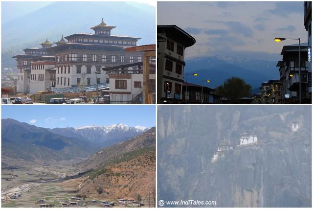 Clockwise from bottom left - Landscape, National Museum, Dusk Paro, Taktsang Monastery from hill across