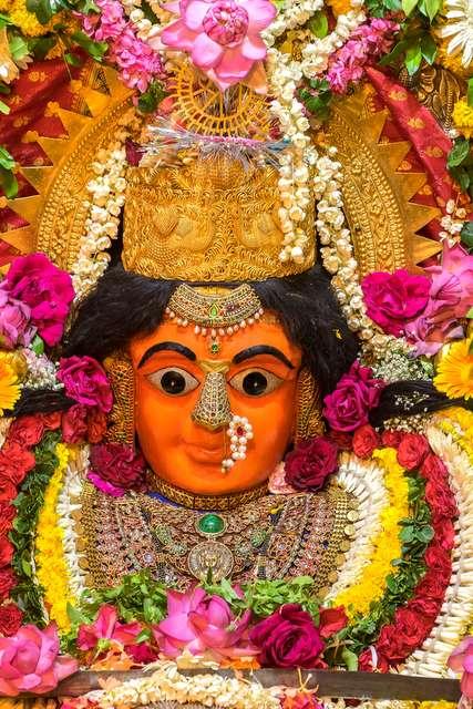 Decorated idol of Mumba Devi, Mumbai