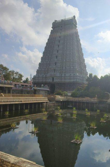 View of Rajagopuram across the Shiva Gangai tank