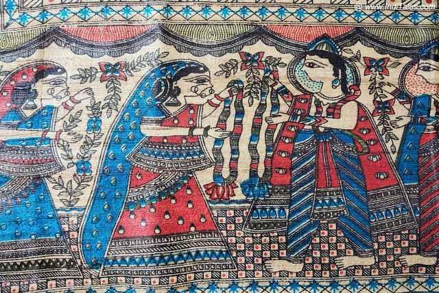 Ram Janaki Vivah on a Madhubani Sari