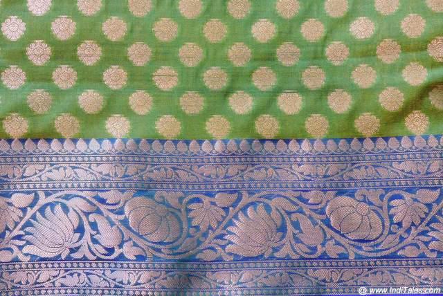 Auspicious symbols on Silk Sari