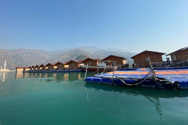 Floating Houses on Tehri Lake